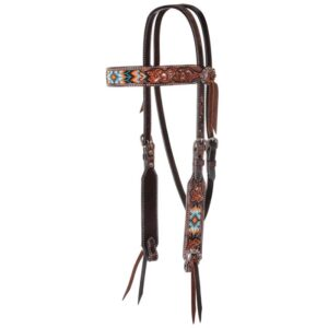Distressed Beaded Tribal Browband Headstall HSRX02165