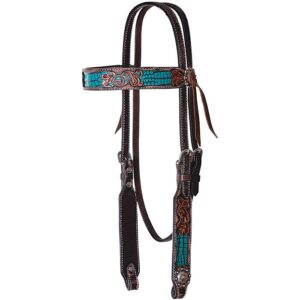 Inlaid Turquoise Gator Print Browband Headstall Pony Size