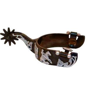 Antique Brown Men's Spurs WReining Horse Motif GS263130