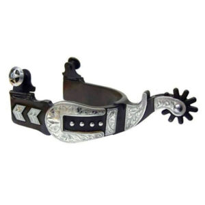Antique Brown Silver Buckle Tip and Keeper Spurs Men's GS258998