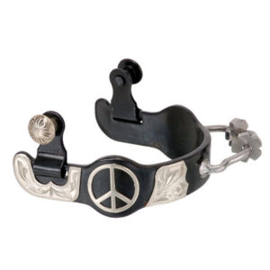 Black Steel Ladies Bumper Spurs with Engraved Silver Peace Sign GS182L